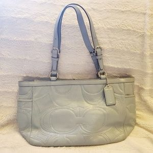 Authentic Coach Patent Leather Branded Bag in Blue